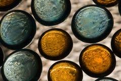 Abstrakter Hintergrund mit den orange und blauen Kreisen lizenzfreie stockfotografie