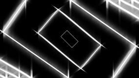 Abstrakter Hintergrund mit den wei?en Neonrechtecken, die sich eins nach dem anderen auf schwarzem Hintergrund, nahtlose Schleife vektor abbildung