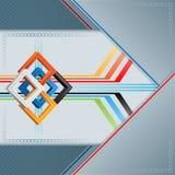 Abstrakter Hintergrund mit drei Maßen quadriert auf geometrischem linearem Design Stockbilder