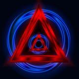 Abstrakter Hintergrund mit einem Dreieck und einem Kreis e Stockfoto