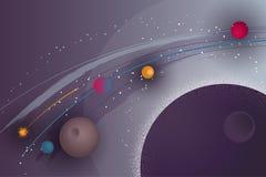 Abstrakter Hintergrund mit einer Raumlandschaft, Lichteffekten und einem Textblock Lizenzfreies Stockfoto