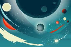 Abstrakter Hintergrund mit einer Raumlandschaft, Lichteffekten und einem Textblock Lizenzfreie Stockfotos