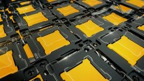 Abstrakter IT-Hintergrund mit gelben Zellen Stockbild