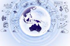 Abstrakter Hintergrund mit Geschäftssymbolen Stockfoto