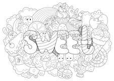 Abstrakter Hintergrund mit Hand gezeichnetem Textbonbon Beschaffenheit für Typografie Schablone für die Werbung, Postkarten, Fahn Stockfotos