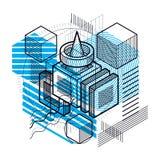 Abstrakter Hintergrund mit isometrischen Linien, Vektorillustration T Lizenzfreie Stockfotografie