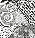Abstrakter Hintergrund mit kritzelnden Hand gezeichneten Mustern Stockfoto