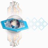 Abstrakter Hintergrund mit Kugel der elektronischen Schaltungen und der Erde Lizenzfreie Stockfotos