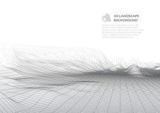 Abstrakter Hintergrund mit niedriger Polylandschaft Der Raum der virtuellen Welt lizenzfreie abbildung