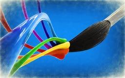 Abstrakter Hintergrund mit Palette und Bürste Stockfotografie