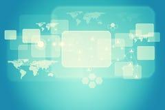 Abstrakter Hintergrund mit quadratischen Formen, Weltkarte Stockfoto