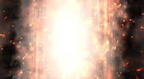 Abstrakter Hintergrund mit Rauche und Funken, Neonlicht stockfoto