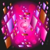 Abstrakter Hintergrund mit in Raum flach fliegen stock abbildung