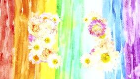 Abstrakter Hintergrund mit schönen Blumen, führen Aquarell durch lizenzfreie abbildung