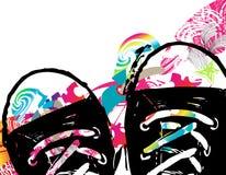 Abstrakter Hintergrund mit Schuhen Stockfotografie