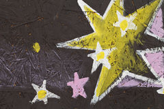 Abstrakter Hintergrund mit Sternen, Baum und Kreide stock abbildung