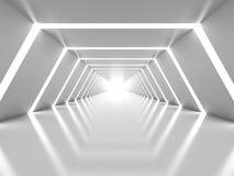 Abstrakter Hintergrund mit symmetrischem weißem glänzendem Tunnelinnenraum Lizenzfreies Stockbild