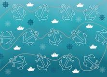 Abstrakter Hintergrund mit themenorientierten Gegenständen der Marine Lizenzfreie Stockfotografie