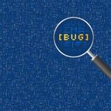 Abstrakter Hintergrund mit Vergrößerungsglas und Code Lizenzfreie Stockbilder