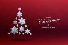Abstrakter Hintergrund mit Weihnachtsbaum gemacht vom volumetrischen Papierschnee stock abbildung