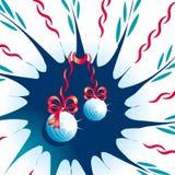 Abstrakter Hintergrund mit Weihnachtsspielwaren und -bändern Stockbild
