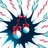Abstrakter Hintergrund mit Weihnachtsspielwaren und -bändern Lizenzfreies Stockfoto