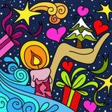 Abstrakter Hintergrund mit Weihnachtssymbolen Stockfotos