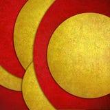 Abstrakter Hintergrund, rotes Gelb überlagerte Kreisformen im gelegentlichen Muster entwerfen mit Beschaffenheit Lizenzfreie Stockbilder