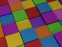 Abstrakter Hintergrund - verschiedene rainbowcolor Würfel lizenzfreie abbildung