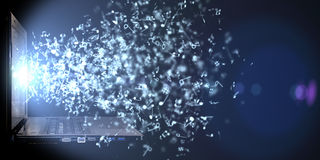 Abstrakter Hintergrund vieler musikalischen Anmerkungen, die aus Laptop heraus fliegen Stockfoto