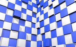 Abstrakter Hintergrund von blauen und weißen Würfeln bringen zwei Wände in Verlegenheit Stockfotos