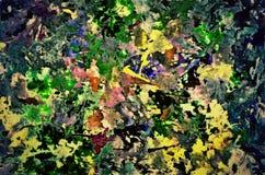 Abstrakter Hintergrund von chaotischen Sprayfarbfarbenabstrichen und beschmutzt Spurnunschärfe auf einem strukturierten Segeltuch lizenzfreie abbildung