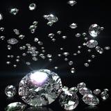 Abstrakter Hintergrund von fallenden Diamanten Stockfotos