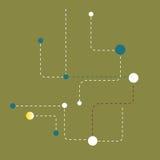 Abstrakter Hintergrund von punktierten Linien und von Bällen Lizenzfreie Stockfotos