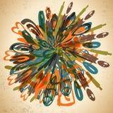 Abstrakter Hintergrund von verzerrten Netzikonen in der Weinleseart Stockfoto