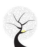 Abstrakter Illustrationsbaum der Liebe mit Paaren färben Vögel gelb Stockbilder