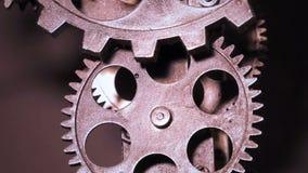 Abstrakter industrieller Schmutz Rusty Metallic Clock Gears stock footage