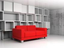 Abstrakter Innenraum, weiße Kubikregale, rotes Sofa 3d Lizenzfreies Stockbild