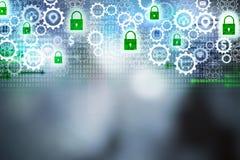 Abstrakter Internetsicherheitshintergrund mit Gängen und grünen Vorhängeschlossikonen, Konzepte der Technologie, Sicherheit Stockbild