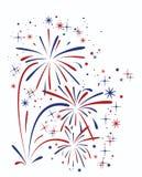Abstrakter Jahrestag, der Feuerwerke sprengt Lizenzfreies Stockbild