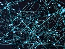 Abstrakter Kommunikationstechnologiehintergrund mit verbundenen blauen glühenden Bereichen und Linien 3D-Illustration vektor abbildung