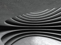 Abstrakter konkreter Architekturkreis-Hallenhintergrund Stockfotos