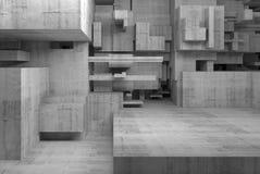 Abstrakter konkreter Innenraum mit chaotischen Würfeln 3d Stockbild