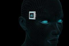 Abstrakter Kopf mit einem elektronischen Chip mit der Aufschrift AI vektor abbildung