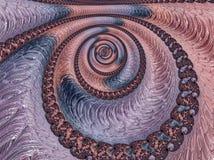 Abstrakter korallenroter, violetter und blauer strukturierter gewundener Fractal, 3d ?bertragen f?r Plakat, Entwurf und Unterhalt stock abbildung