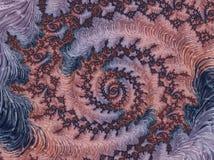 Abstrakter korallenroter, violetter und blauer strukturierter gewundener Fractal, 3d ?bertragen lizenzfreie abbildung