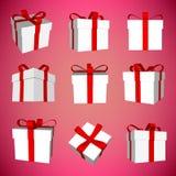 Abstrakter kreativer Konzeptvektor-Ikonensatz der Geschenkbox für Netz und bewegliche Anwendungen lokalisiert auf Hintergrund Vek Stockbild