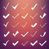 Abstrakter kreativer Konzeptvektor-Ikonensatz Häkchen für Netz und bewegliche Anwendungen, Illustrationsschablonendesign Stockfotos