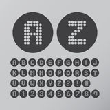 Abstrakter Kreis Dot Font und Zahlen Lizenzfreie Stockfotos