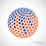 Abstrakter Kugelbereich, Effekt des Hexagons 3d Rote, blaue Farben Lizenzfreies Stockfoto